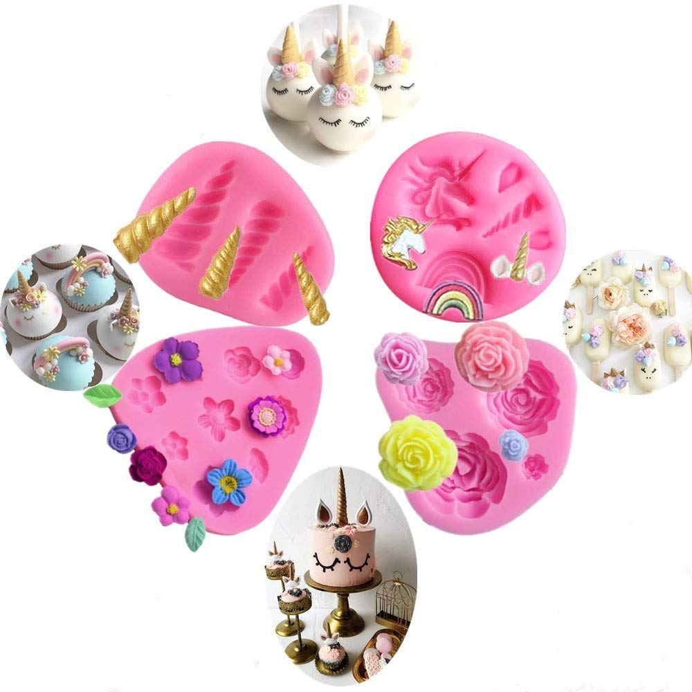 Mini Unicorn Mold,Unicorn Ears Horn Rainbow Flowers and leaf,Silicone cake fondant mold Set,Cupcake Toppers Fondant Chocolate Mold for Unicorn Theme Party,Baby Shower and Children's Birthday(Set of 4)