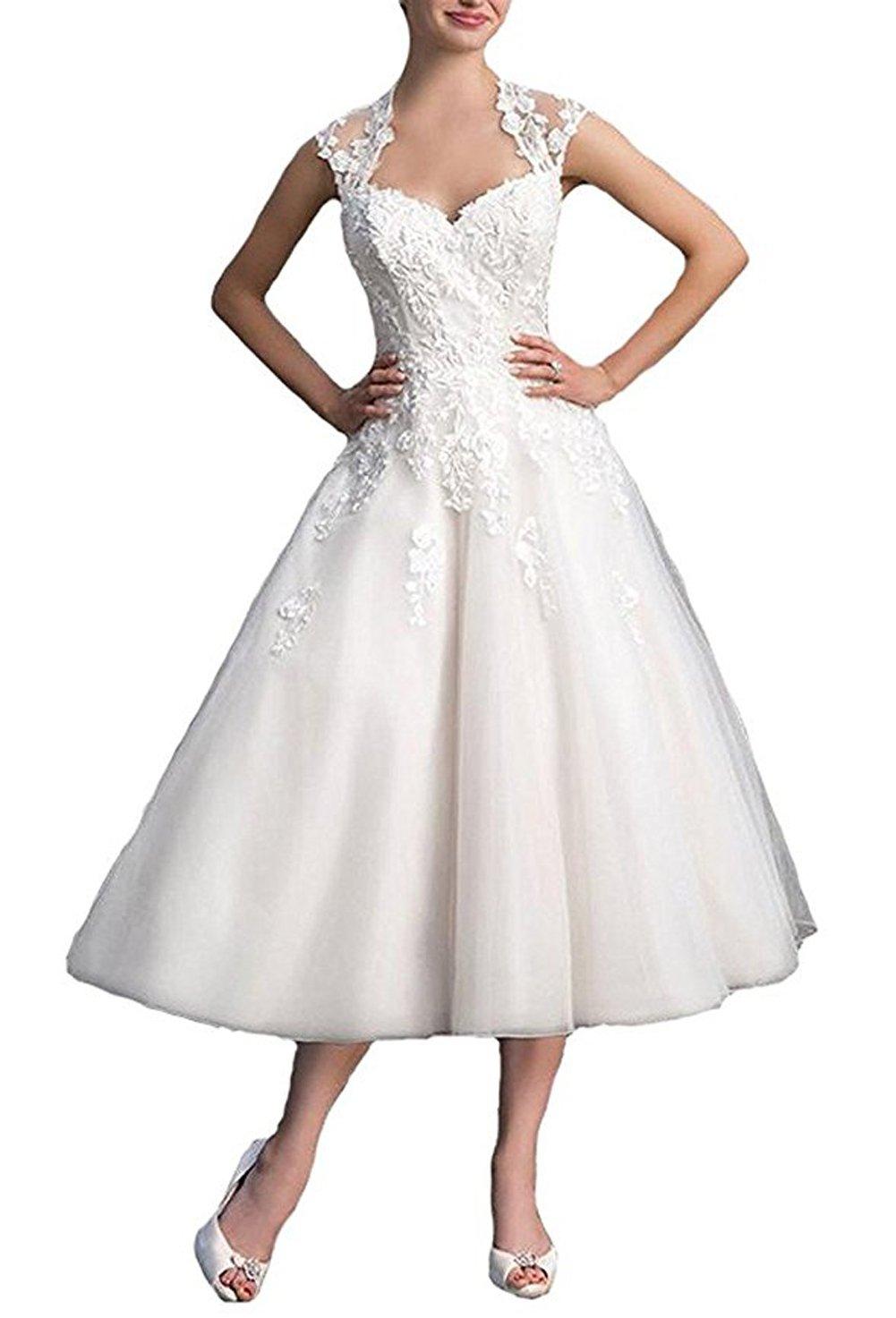 Dobelove Lace Cap Sleeves Tea Length Ball Gown Wedding Dress