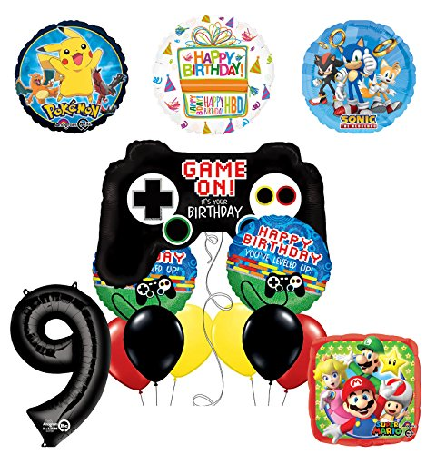 The Ultimate Video Game 9th Birthday Party Supplies and Balloon Decorations (Sonic, Super Mario and Pokemon)