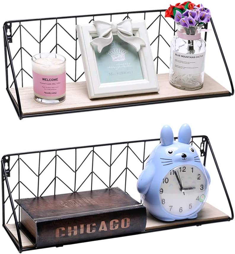 Urban Deco Floating Shelves Wall Mounted Rustic Wood Storage Decorative Shelf Set of 2 for Picture Frames, Collectibles, Decorative Items, Books, Living Room, Bedroom, Kitchen, Office, Bathroom