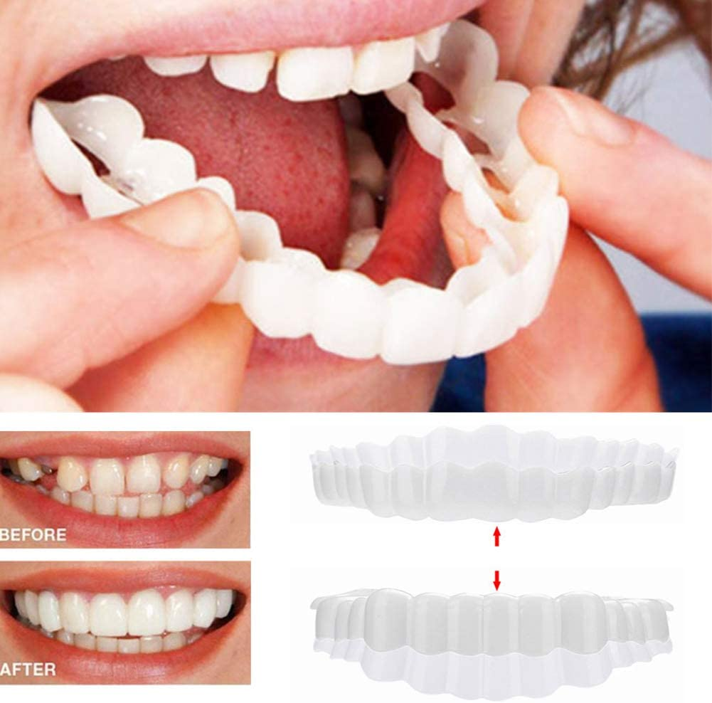 ZZZYT Carillas Dentales Dentaduras Postizas Reutilizable para Adultos Snap On Smile Blanqueamiento De La Dentadura Fit Flex Cosmetic Teeth 2 Pcs