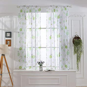 Gentil Window Sheer Curtain Panel Tulle Window Treatment Circle Pattern Voile  Drape Valances For Bedroom Living Room
