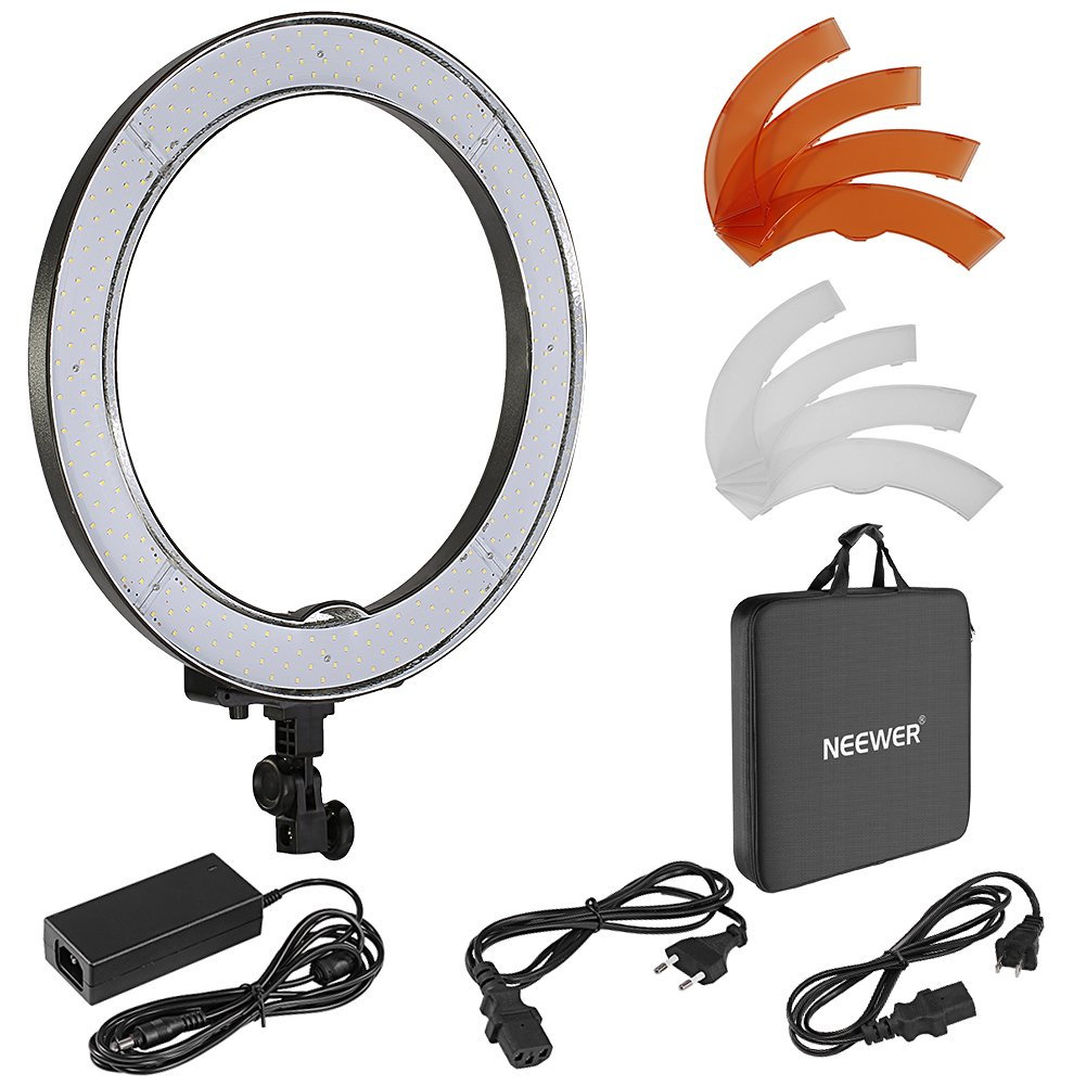 Neewer 18 inches 55W 240PCs LED SMD 5500K Dimmable Ring Video Light with 2 Plastic Color Filter(White, Orange) and Carry Case for Makeup, Portrait and Selfie Video Recording(Pink) 10087454