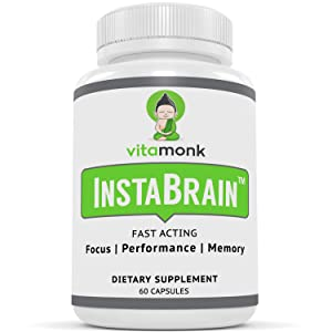 InstaBrain Fast-Acting Brain Booster Supplement - by Vitamonk - On-Demand Brain Boost - Quick Focus, Energy, and Mood Boost |100% All-Natural nootropic Capsules
