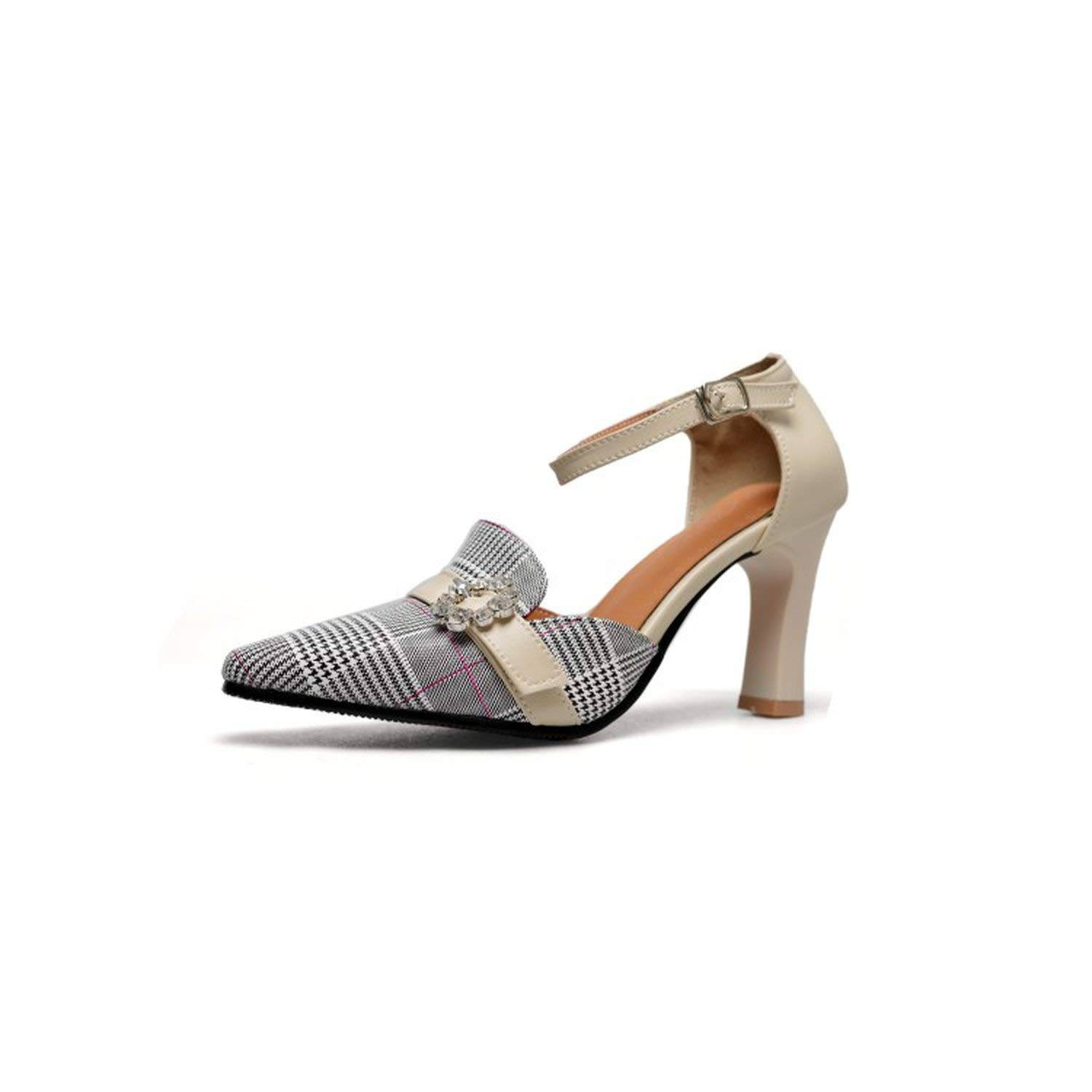 As photo Women Pumps Sandals Jacquard Fabric Plaid High Heel Pointed Toe shoes Party Buckle