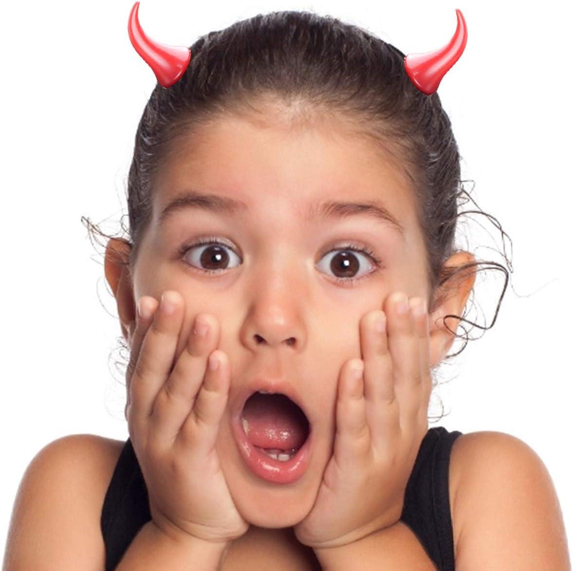 Horquilla de cuerno de diablo de halloween Rojo Horquilla Diablo Cuernos Pinzas para El Pelo de Cuerno de Diablo de pl/ástico para ni/ños actuaci/ón en el escenario para mascarada juego de rol fiesta