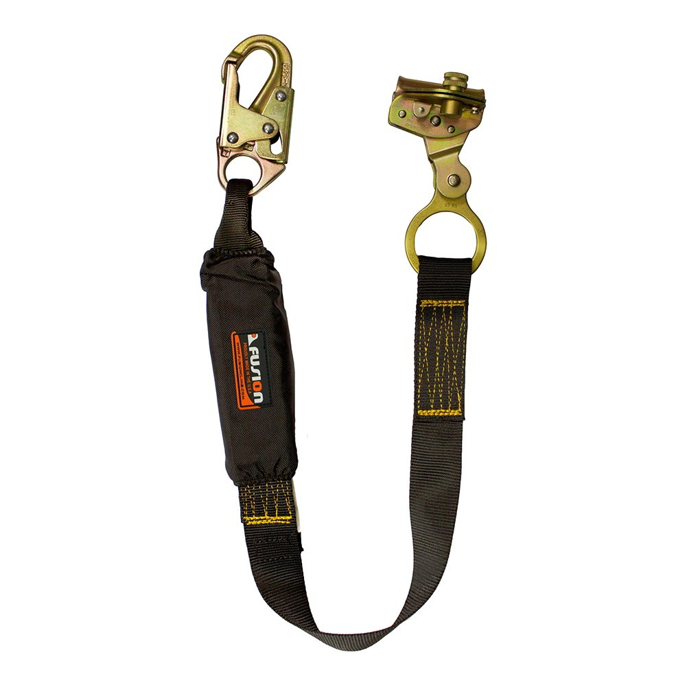 Fusion Climb 3ft 36''x1.75'' Fall Protection Safety Lanyard with Shock Pack Steel Snap Hook Rope Grab 23kN Black