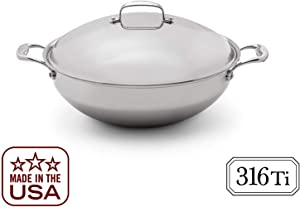 Heritage Steel 13.5 Inch Wok with Lid - Titanium Strengthened 316Ti Stainless Steel Pan with 7-Ply Construction - Induction-Ready and Dishwasher-Safe, Made in USA