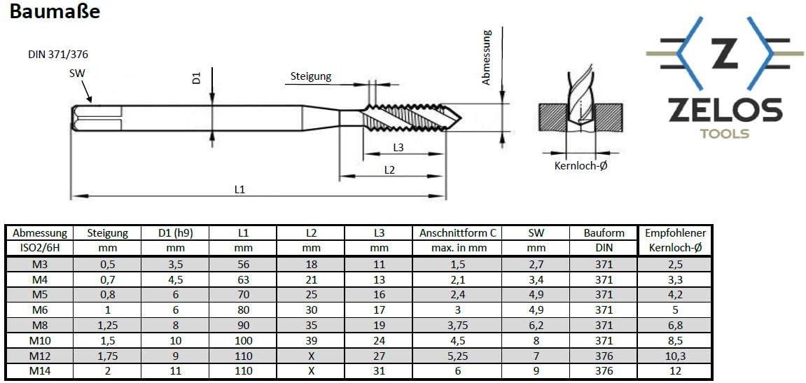 TICN beschichtet M10 DIN 371//376, Gewindeschneider spiralisiert Metrisch Universell einsetzbar HSSE-PM