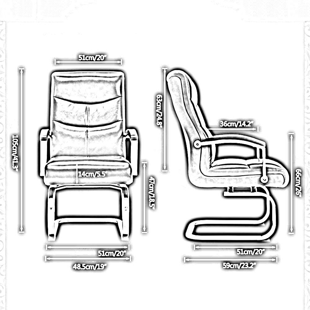 JIEER-C stol datorstol hög rygg PU-läder spelbordsstol rosett fot verkställande och ergonomisk svängbar stol för kontor möte rum lager kapacitet: 150 kg, beige Svart