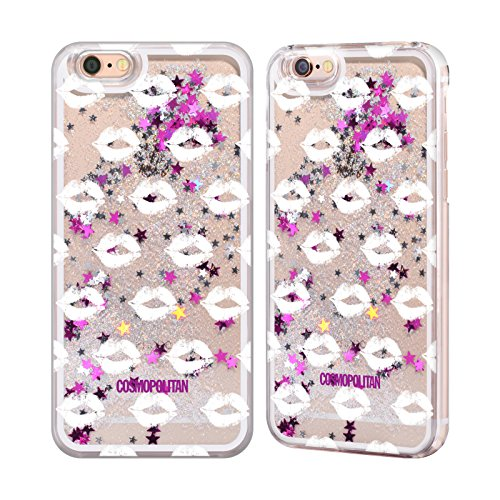 Official Cosmopolitan Silver Kiss Mark Silver Liquid Glitter Case Cover for Apple iPhone 6 / 6s