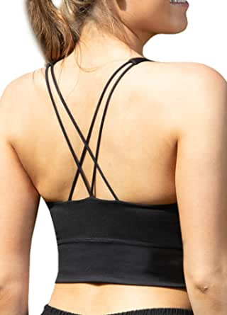 LaSculpte Women's Padded Strappy Criss Cross Back Sexy Sports Bra Low Impact Workout Running Long Line Yoga Bra, 10-20
