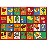 Champion Rugs 8x10 Kids Area Rug ABC Food Learning/ Playtime Carpet (7ft4in.x10ft4in.) (8 Feet X 10 Feet)