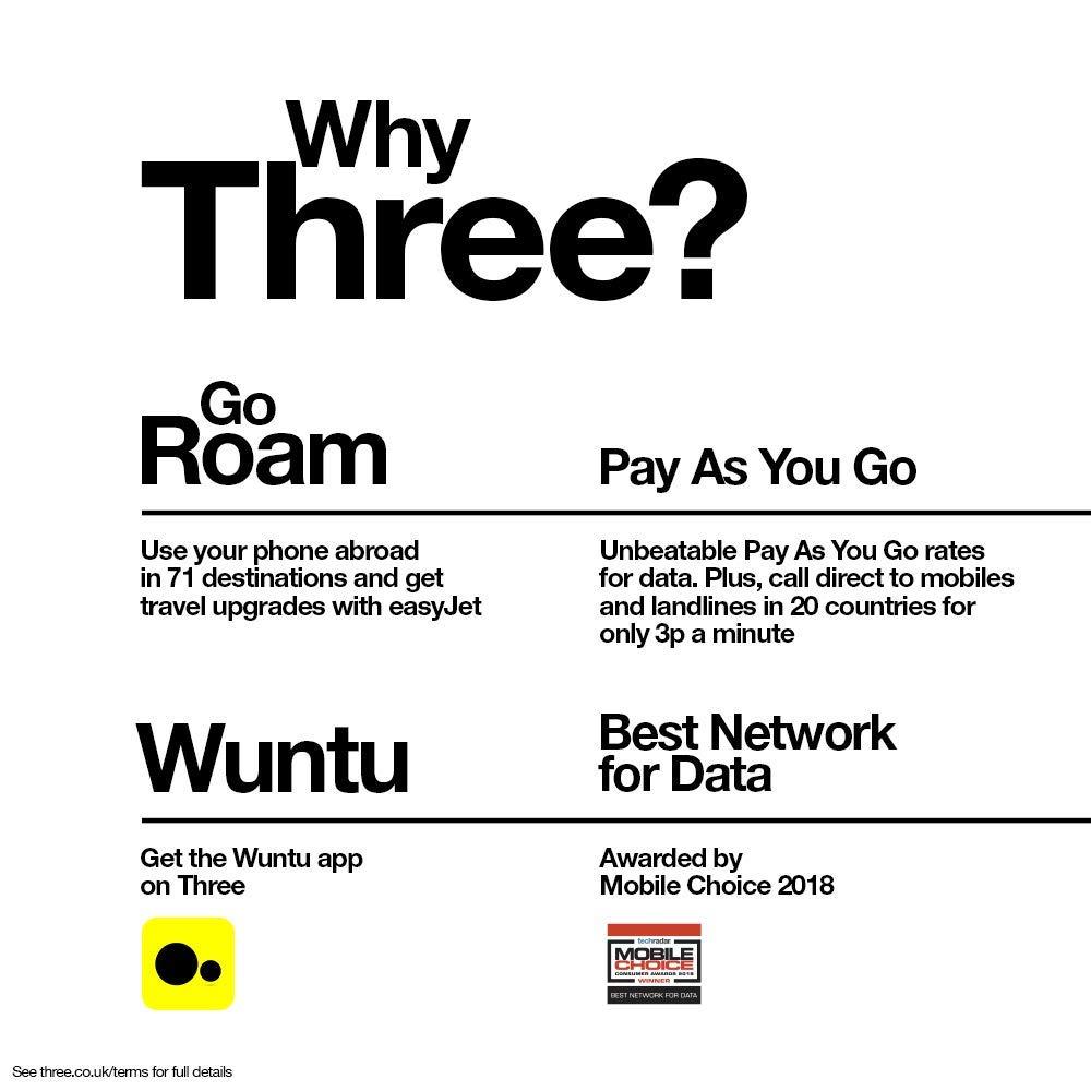 A usar en toda Europa 3000MINS 3000SMS Tarjeta SIM Three Bono20-12GB