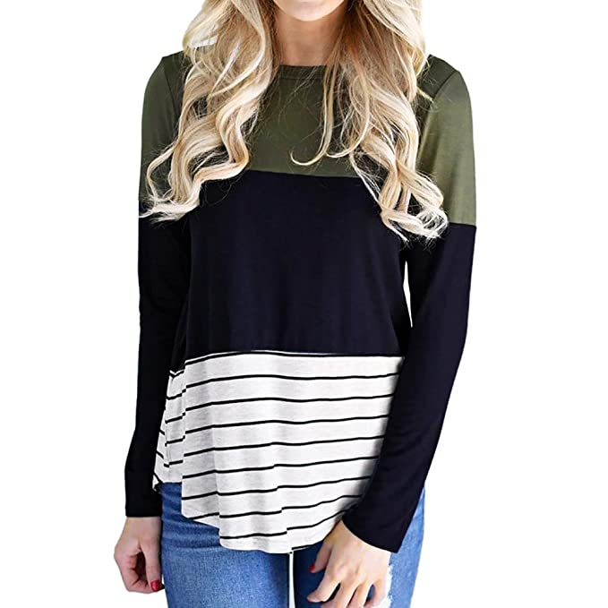VENMO Mujer Camisas Manga Larga Casual Rayas Color Bloque Round Collar Tops Blusa T-shirt