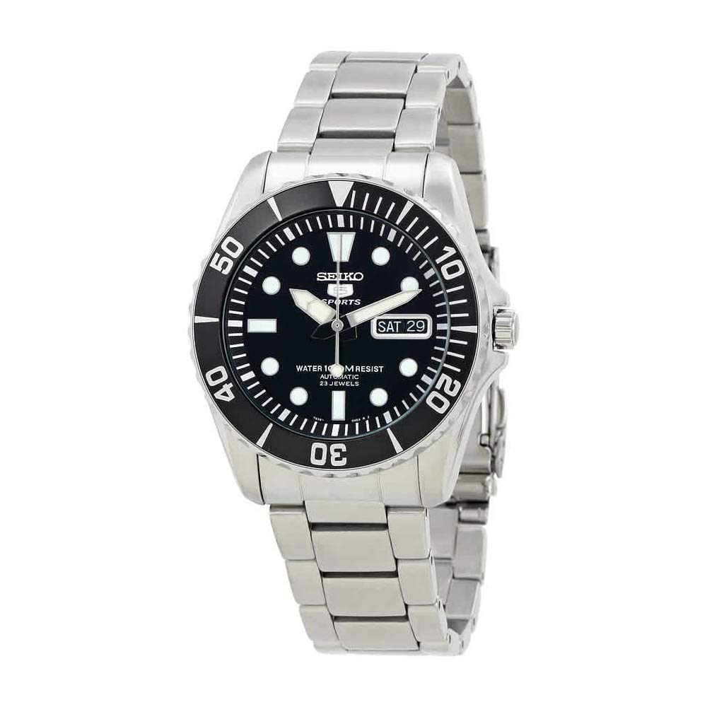 Seiko 5 Black Dial Stainless Steel Automatic Mens Watch SNZF17 by Seiko 5