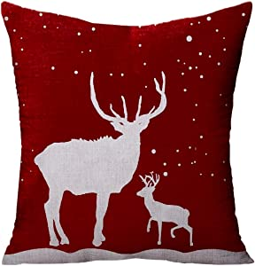 Newhomestyle Throw Pillow Cover Happy Holidays Snowflakes Christmas Trees Reindeer Deer Cotton Home Decor Square Cushion Pillowcase 24x24 in