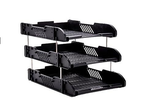 Schedario Ufficio Nero : Scaffale di carta rack portalettere 3 strati grande capacità