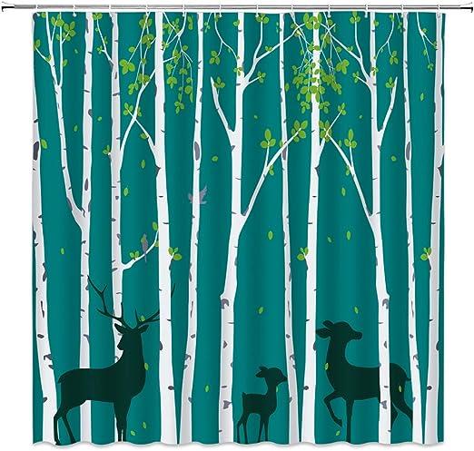 Polyester Waterproof Fabric Shower Curtain Set Hooks Birch Forest Christmas Deer