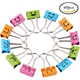 CCINEE 19mm Mini Colorful Smiling Face Binder Clips Paper Clips