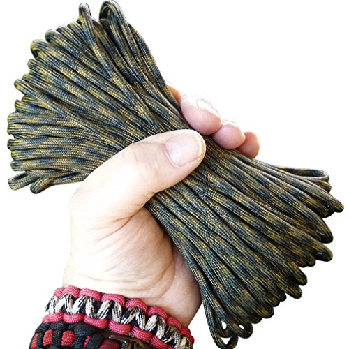 - Paracord / Parachute Cord Best Heavy Duty 550 Chord Braided Utility Polyester Tent Camping Hiking Hunting Fishing Ropes String Military Survival Cord for Bracelets, Flag Pole Halyards, Projects.