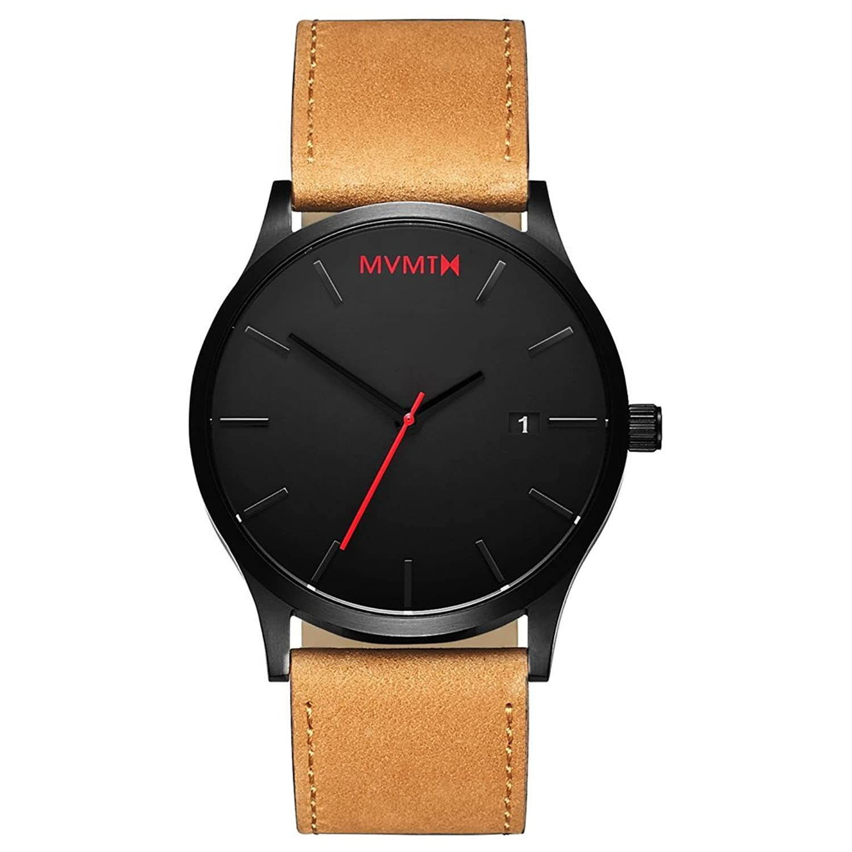 MVMT Watches Classic Herren Uhr Black-Tan Leder Armband MC01BTL