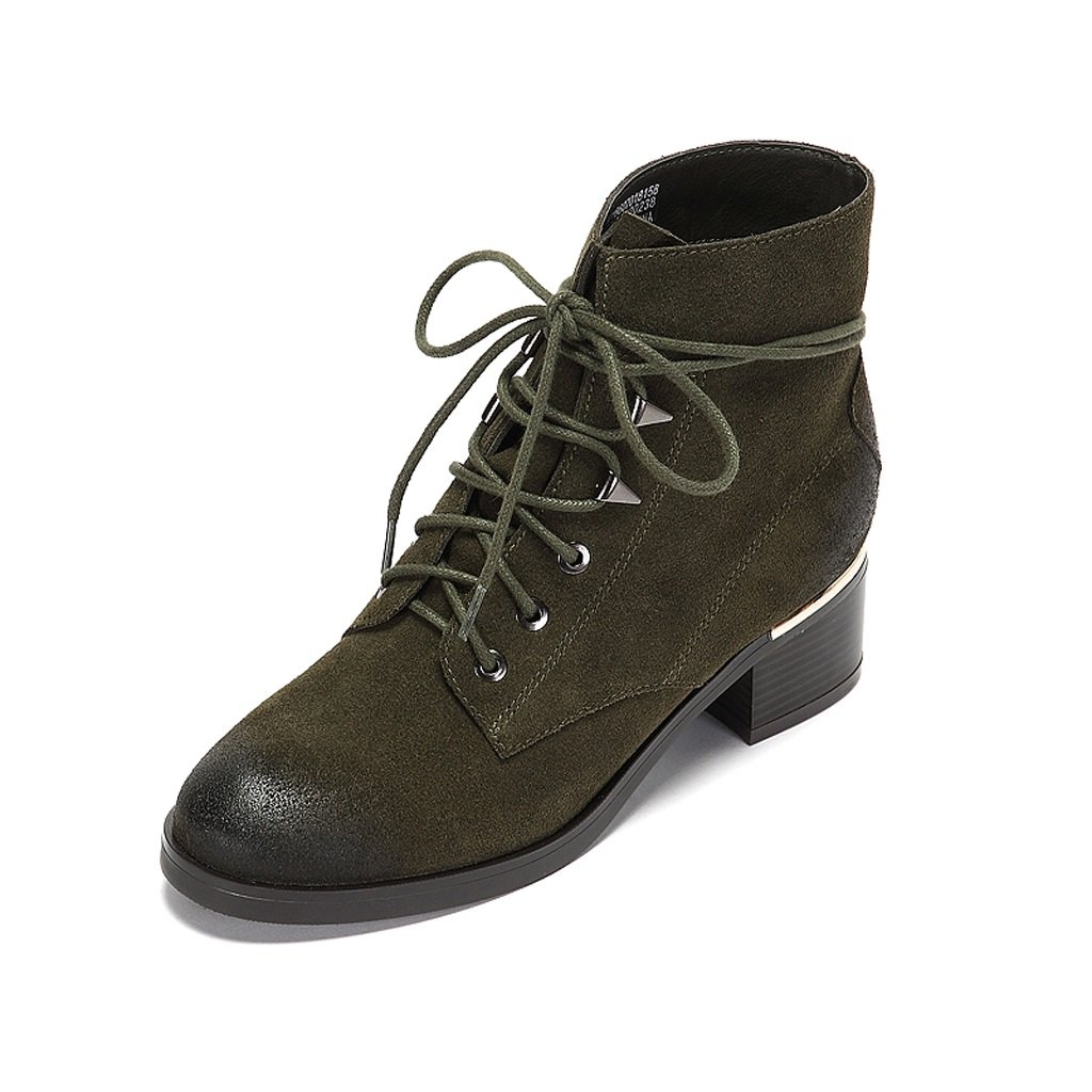 Women 's Martin boots winter Suede personality boots ( Color : Green , Size : US:5.5UK:4.5EUR:36 )
