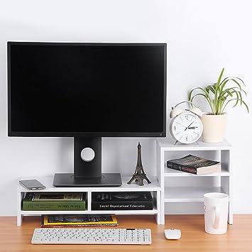YOSOO Elevador Soporte de Monitor de Computadora y Ordenador Portátil Organizador de Almacenamiento de Escritorio + Librería de 3 Capas (Blanco): Amazon.es: ...