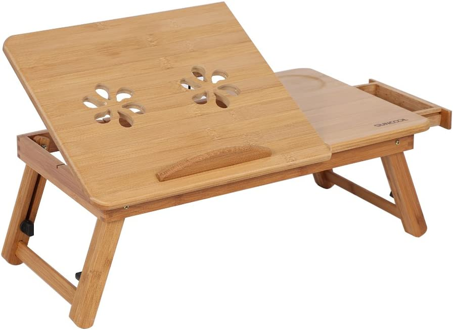 Bed Lap Desk,Bamboo Lap Desk Table Laptop Standing Table Adjustable Breakfast Serving Bed Tray Tilting Top Drawer