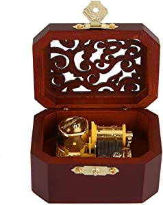 HEEPDD Retro Wooden Engraved Wind-Up Musical Box Octagonal Music Box Great Gift for Women Girls Birthday Valentine's Day Home Decor (White)