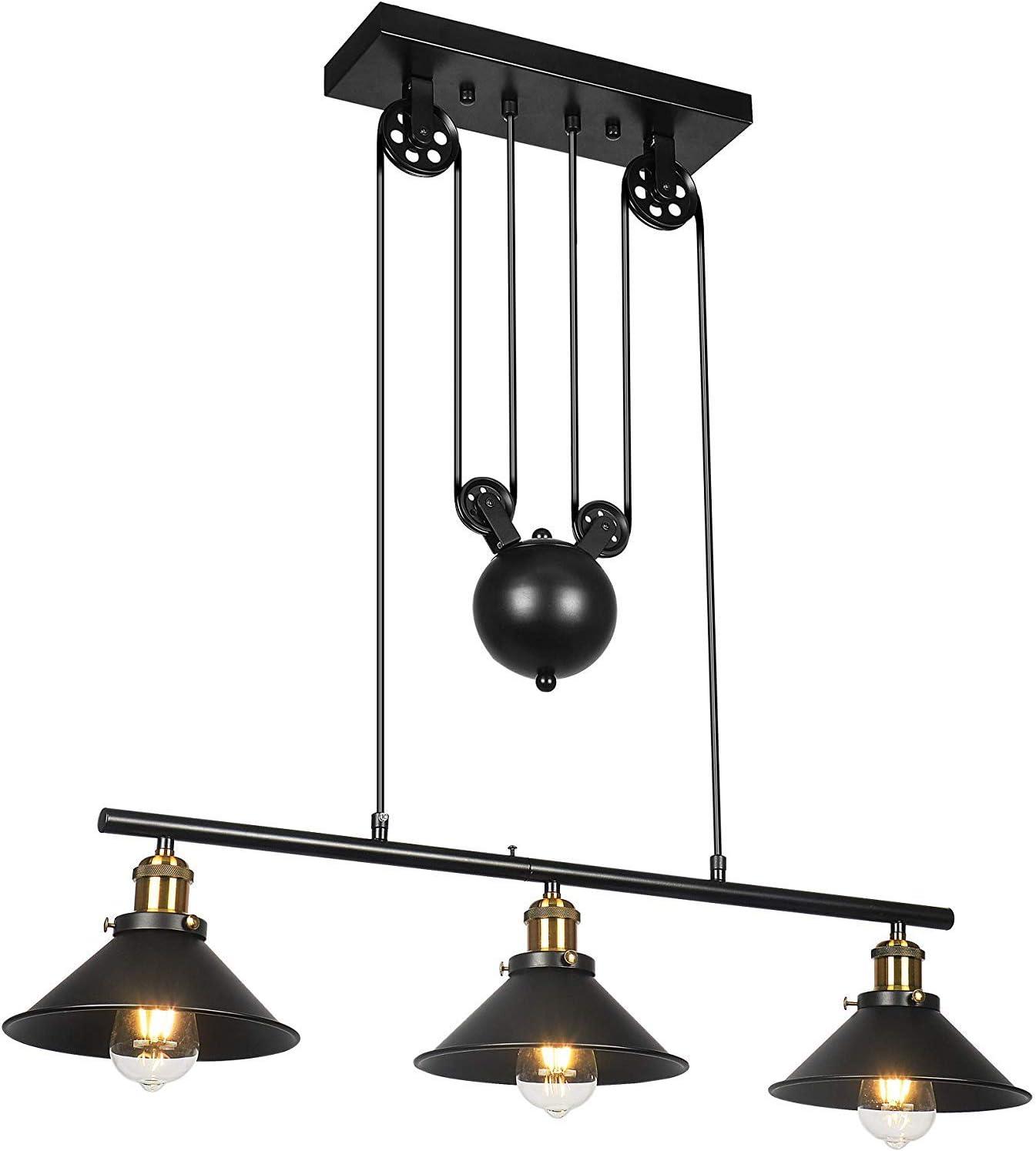 OOFAY TAPS Fer Poulie Pendant Light Motent Industrial Vintage 3-Light r/étractable Lustre r/églable Loft Suspendu lumi/ère huil/é Fini Fixture Lampe de Plafond pour Kitchen Island Bar Salle /à Manger