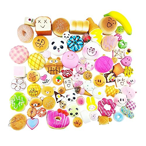 Shineweb Kawaii Squishies Toys 10 pcs Random - Giant Food Squishy Charms - Jumbo Medium Mini Soft Bread Buns Doughnuts - Slow Rising Stress Relief Toys Package - Phone Charm (Bun Play Food)