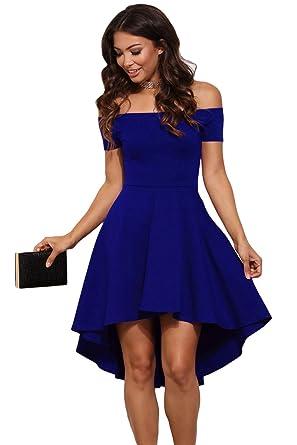 info for 2acab f25f6 abito cerimonia da donna mini abito vestito damigella elegante festa scollo  barchetta