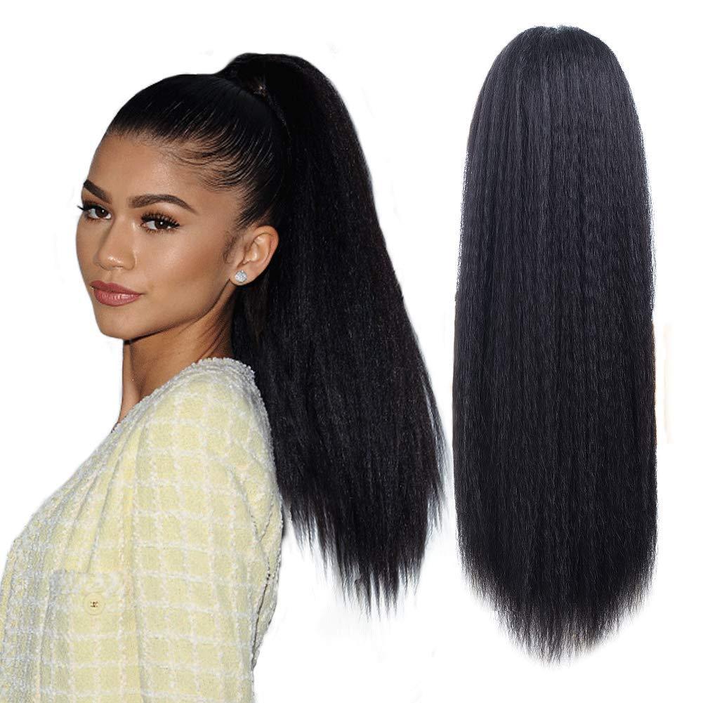Long Kinky Srtaight Drawstring Ponytail Extensions For Black women, YAKI curly Hair extension deaw string pony tail kinky straight wig 24inch (Natural Black) by YUNKAI