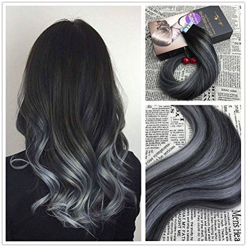 Hair extensions moresoo 16 inch 100g straight remy human hair ombre balayage two tone colored natural black pmusecretfo Choice Image