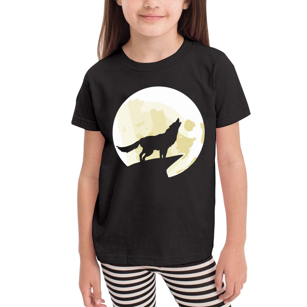Wolf Howling at The Yellow Moon Infant Kids O-Neck Short Sleeve Shirt Tee Jersey for Toddlers
