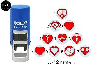 IMPACT2PRINT Corazón Diseño Auto Entintado Mini Sello De Goma ...