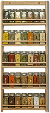 Wooden Spice Rack Wall Mounted Or Free Standing Natural Pine jp047