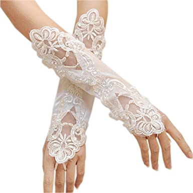 Lady Bridal Party Fingerless Pearl Lace Satin Long Evening Prom Wedding Gloves