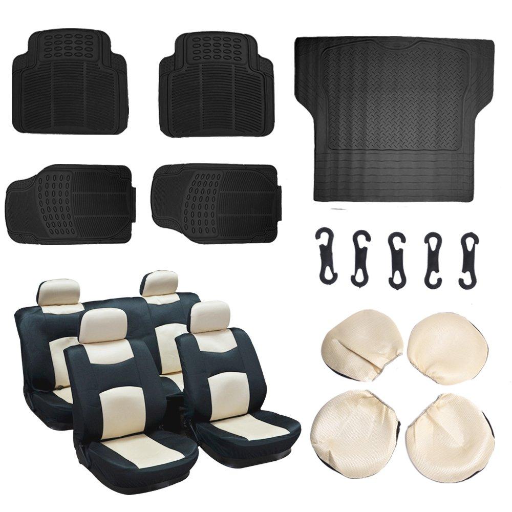 ECCPP Black/Beige Mesh Car Seat Covers 5Pcs Car Floor Mats W/Trunk Liner Breathable fit Heavy Duty Vans Trucks(13pcs)