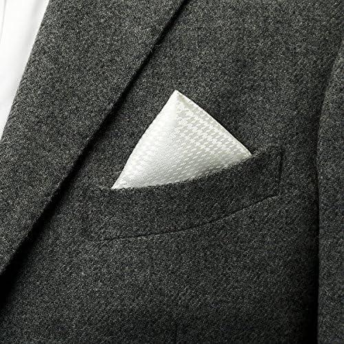 グレンチェック柄ポケットチーフ フォーマル日本製 ホワイト