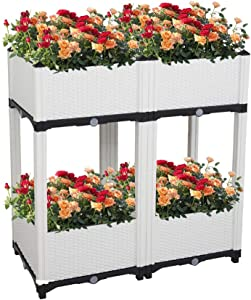 Depointer Set of 4 Raised Garden Bed for Vegetables Elevated Planter Box with Legs Outdoor Patio Flower Herb Container Gardening