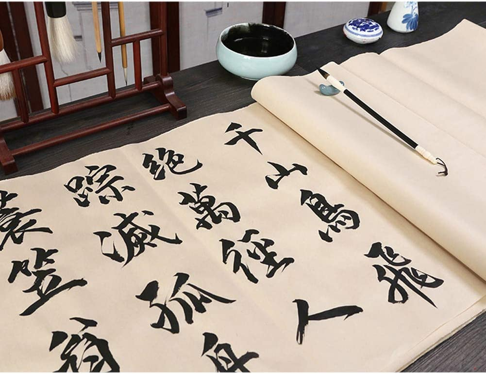 70 Pcs,69x36cm QJang Chinese Calligraphy Sumi Paper Handmade Traditonal Technique Maobian Antique Style Half Ripe Rice Paper for Brush Writing Watercolor Sumi Drawing Kanji Painting Practice
