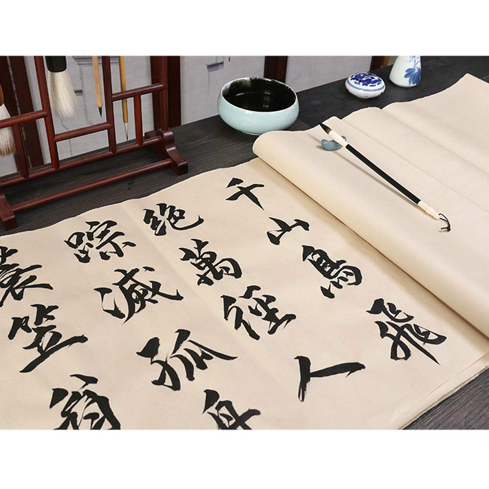 QJiang Chinese Calligraphy Sumi Paper Handmade Traditonal Technique Maobian Antique Style Half Ripe Rice Paper for Brush Writing Watercolor Sumi Drawing Kanji Painting Practice 70 Pcs,69x36cm