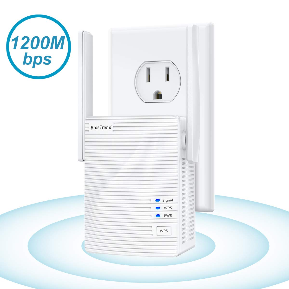 BrosTrend AC1200 WiFi Range Extender, 1200Mbps   Add Coverage up to 1200+ sq.ft.   Extend 2.4 & 5GHz Dual Band WiFi   Signal Booster, Repeater   Also Work as Wireless Bridge, Access Point, Easy Setup