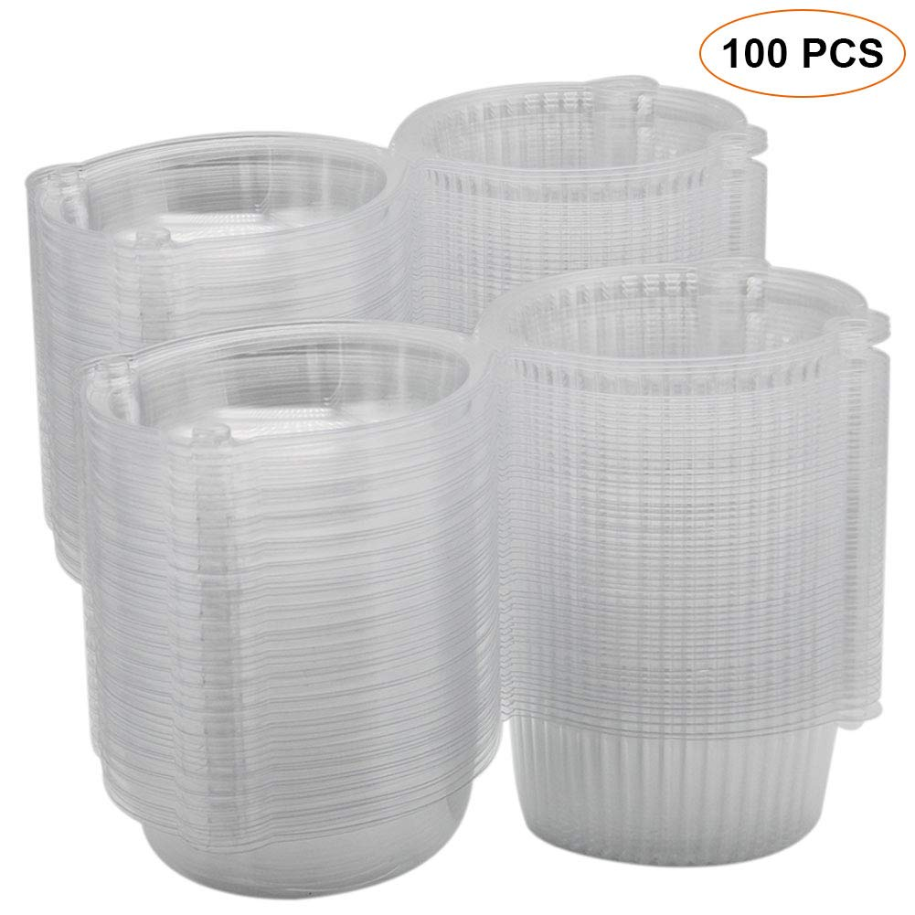 Plastic Individual Single Cupcake Muffin Hamburger Dome Holders Cases Boxes Pods