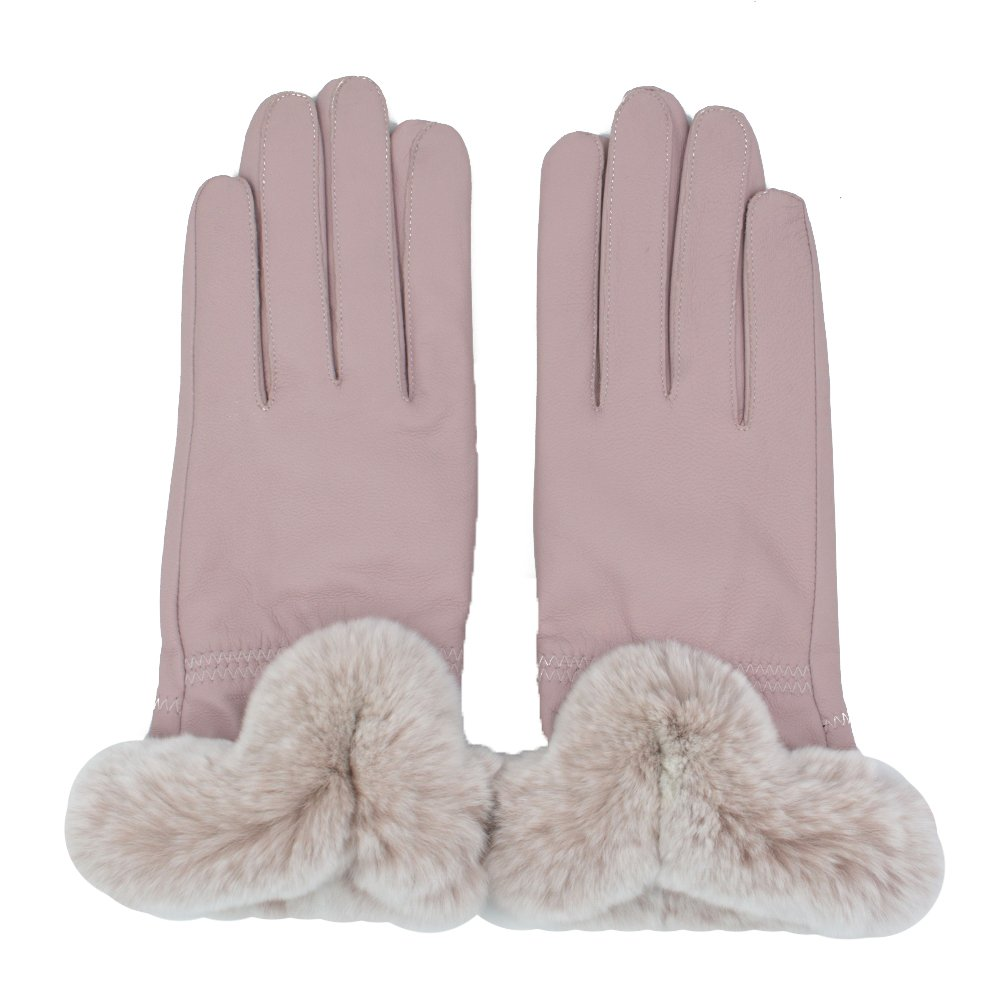 Yosang Women Winter Cashmere Lined Leather Gloves With Rex Rabbit Fur Cuff(Pink,Large)