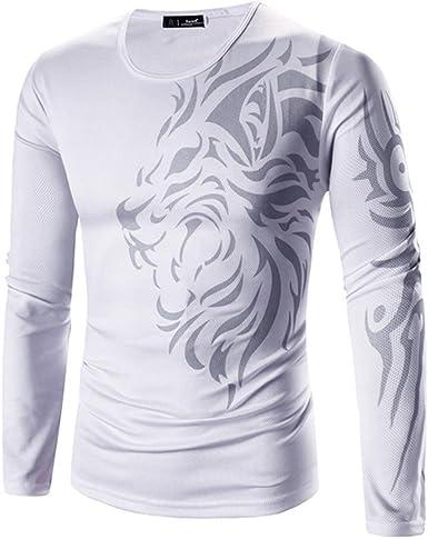 Culater® Camiseta de Manga Larga para Hombre de Tigre Algodón: Amazon.es: Ropa y accesorios