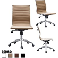 2xhome Tan Mid Century Modern Contemporary Executive Office Desk Chair Mid back PU Leather No Arm Rest Arms Tilt Adjustable Height With Wheels Back Support Task Work Chrome Armless Begie Ergonomic