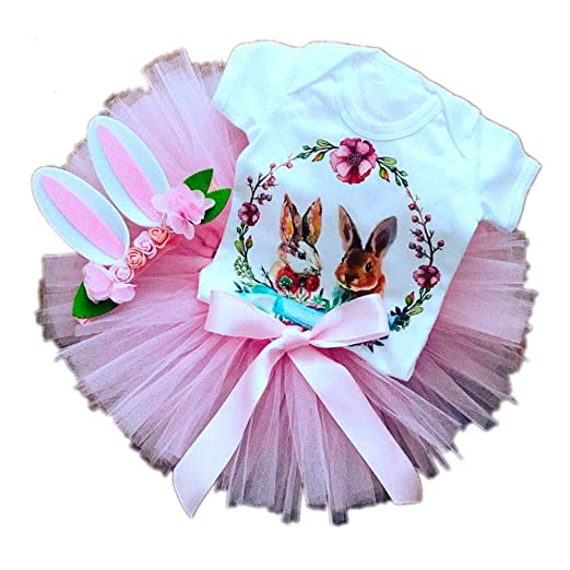 e3d0322e4 Amazon.com: Baby Girls My First 1st Easter Bunny Outfit Dress Ball Gown  Pageant Bodysuit Romper + Tutu Skirt 2Pcs Skirt Set: Clothing